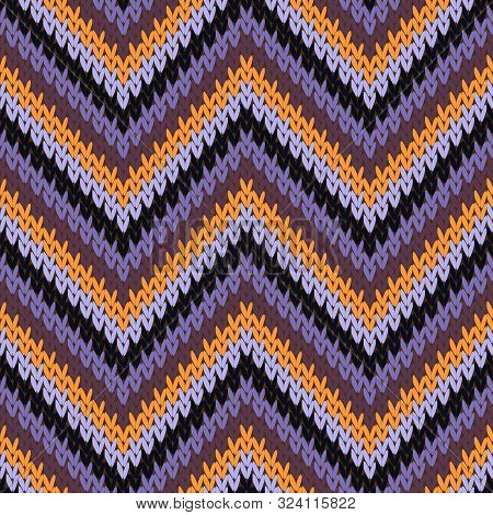 Cashmere zigzag chevron stripes knit texture geometric vector seamless. Pullover hosiery textile print. Nordic style seamless knitted pattern. Repeatable background. poster