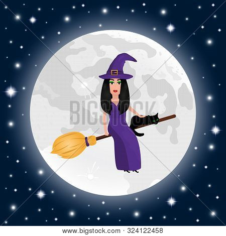 Happy Halloween On A Moonlight Background Witch With A Cat In A Dark Twilight Night On A Broomstick