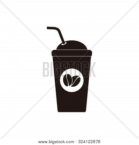 Coffee Cup With Cool Coffee In Flat Style. Coffee Cup Isolated On White Background. Disposable Coffe
