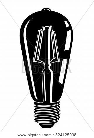 Retro Watt Bulbs. Steampunk Light Lamp Simple Style, Vintage Vector Lamp, Interior Decoration Lightb