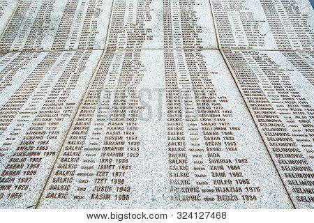 Potocari, Bosnia And Herzegovina - July 31, 2019. Detail Of Memorial Desk To The Victims Of Srebreni