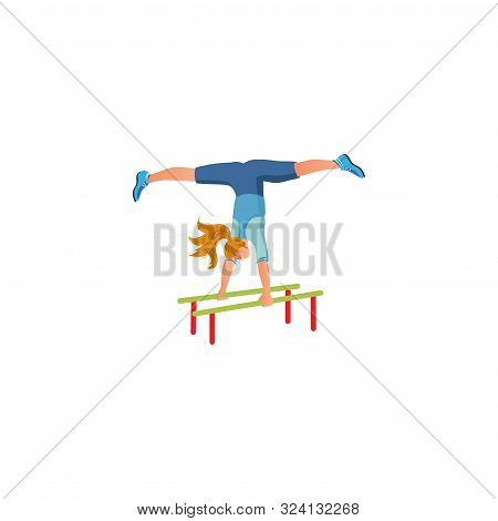 Girl Doing Twine During Street Workout Vector Illustration