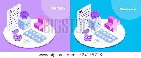 Pharmacy. Illustration For Medical Website, Drugstore, Pharmacy Application, Medical Article Etc. Is