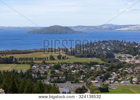 Aerial View Of Rotorua Lake And Town