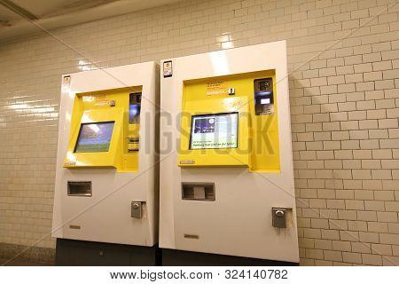 Berlin Germany - June 8, 2019: Subway Metro Ticket Machine Berlin Germany