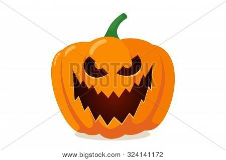 Scary Spooky Pumpkin Jack-o-lantern With Creepy Toothy Smile. Traditional Horror Decoration Evil Sym