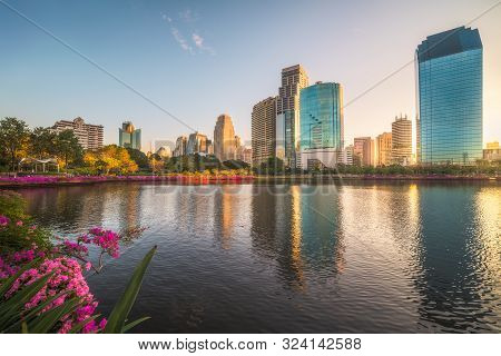 Lake With Purple Flowers In City Park Under Skyscrapers At Sunrise. Benjakiti Park In Bangkok, Thail