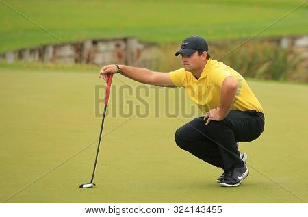 VIRGINIA WATER, ENGLAND. 22 SEPTEMBER 2019: Patrick Reed during round four of the BMW PGA Championship, European Tour Golf Tournament at Wentworth Golf Club