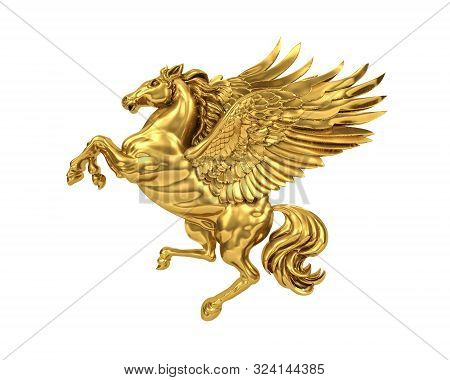 Golden Flying Horse Pegasus Isolated On White Background (with Clipping Path). 3d Rendering
