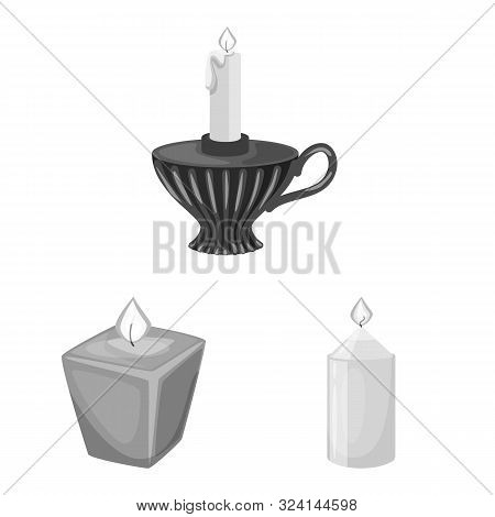 Vector Design Of Paraffin And Fire Sign. Set Of Paraffin And Decoration Stock Symbol For Web.