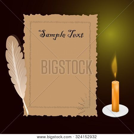 A Vector Illustration Of An Old Quill And Ink. Feather Quill And Ink. A Retro Image Of A Writing Wit