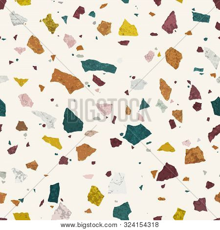 Terrazzo Seamless Pattern. Stone Mosaic. Trendy Background In Light Colors