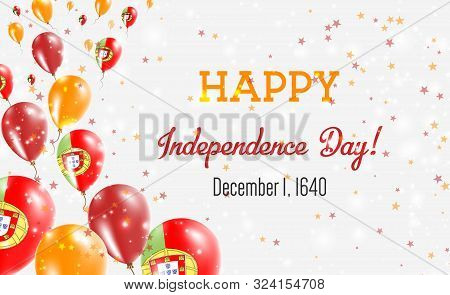 Portugal Independence Day Greeting Card. Flying Balloons In Portugal National Colors. Happy Independ