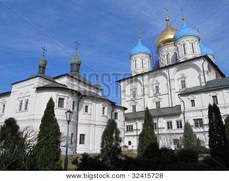 Russia, Moscow. Novospassky monastery. Pokrovsky temple and Preobrazhensky Cathedral. poster