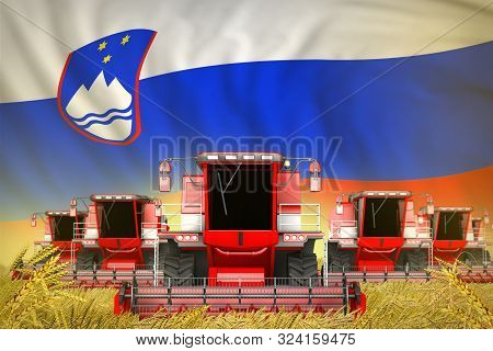 Some Red Farming Combine Harvesters On Rye Field With Slovenia Flag Background - Front View, Stop St