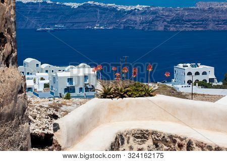 View Of The Aegean Sea From The Ruins Of The Castle Of Akrotiri Also Known As Goulas Or La Ponta, A
