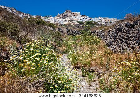 Walking Path Number 12 To Akrotiri Village In Santorini Island In A Beautiful Early Spring Day