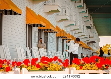 Mackinac Island Mi /usa - July 9th 2016: Staff Working At The Grand Hotel On Mackinac Island