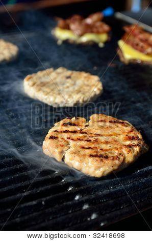 BBQ hamburger and ham cheese