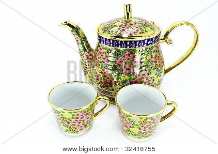 thai tea set in isolated
