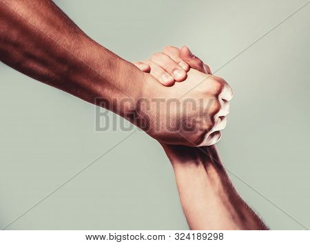 Man Help Hands, Guardianship, Protection. Two Hands, Isolated Arm, Helping Hand Of A Friend. Friendl