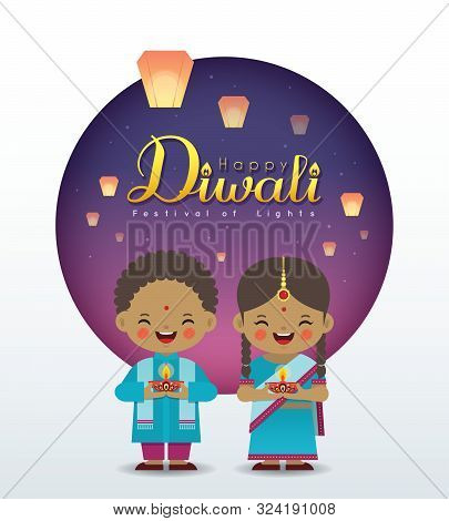 Deepavali Or Diwali Greeting Card. Cartoon Indian Girl & Boy Holding Diya (india Oil Lamp) With Sky