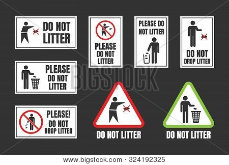 No Littering Vector Igns, Do Not Throw Rubbish Icons