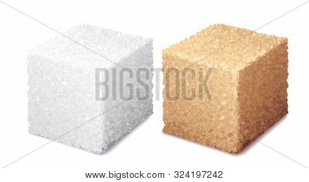 Vector Realistic 3d White And Brown Sugar Cubes Isolated On White Background