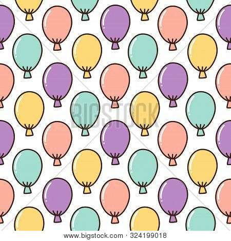 Seamless Pattern With Colorful Balloons, On White Background. Excellent Design For Packaging, Wrappi