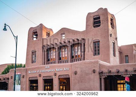 Santa Fe City Center In The Evening, New Mexico Usa.