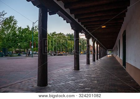 Santa Fe City Center At Sunset, New Mexico Usa.