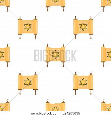 Illustration On Theme Big Colored Pattern Hanukkah, Seamless Set Torah. Seamless Pattern Consisting