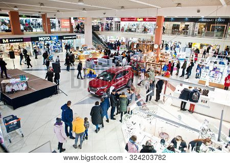 Kyiv, Ukraine - November 23, 2018: Shoppers Visit The Mall On The Black Friday, November.