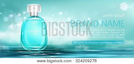 Perfume Spray Bottle Mock Up Banner. Glass Flask Packaging Design Mockup On Water Surface Blurred Ba