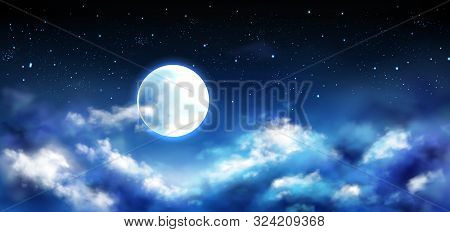 Full Moon In Night Sky With Stars And Clouds. Starry Heaven With Moonlight Romantic Fantasy Landscap
