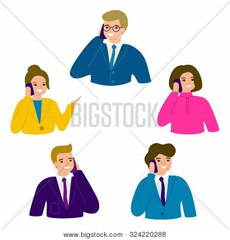People Talking Phone. Business People, Man And Woman Office Person. Male And Female Calling By Telep
