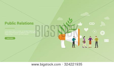 Pr Or Public Relation With People Team For Website Template Or Banner Landing Homepage - Vector Illu