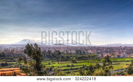Panoramic View To Picchu Picchu Mountain And Arequipa City From Yanahuara Viewpoint In Arequipa, Per