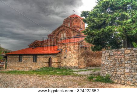 Exterior view to Holy Virgin mary Mary Perybleptos Church in Ohrid, North Macedonia poster