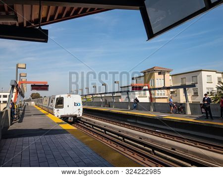San Francisco, USA - September 10, 2018: Public modern BART train at the station