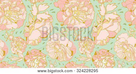 Vector Green Elegant Botany Realistic Festive Peony Botanical Pattern, Peony Blossom In Dusty Pink.
