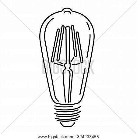 Retro Watt Bulbs. Steampunk Light Lamp Outline Style, Vintage Vector Lamp, Interior Decoration Light