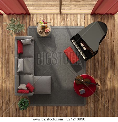 Top View Of A Modern Living Room With Sofa, Grand Piano And Cello - 3d Rendering