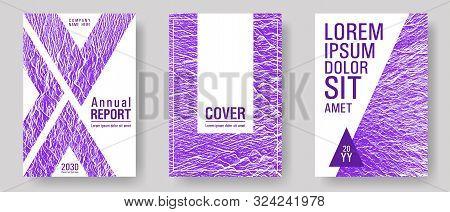 Flyer Poster Vector Graphic Design Set. Proton Purple Color Waves Textures. Buzzing Flux Ripple Move