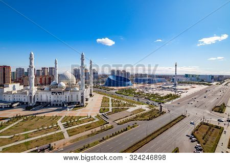 Nur-sultan, Astana / Kazakhstan - September 24, 2019: The Hazrat Sultan Mosque In Nur-sultan, Kazakh