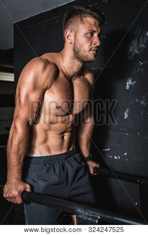 Dip Training, Young Strong Sweaty Muscular Fit Man Doing Dip Cross Workout Training In The Gym For T