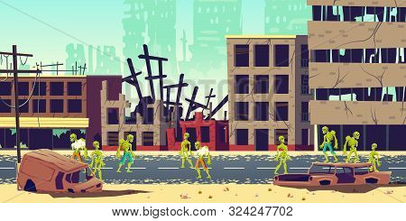 Zombie Apocalypse In City Concept. Lining Dead, Scarifying Human Mutants, Monsters From Hell Walking