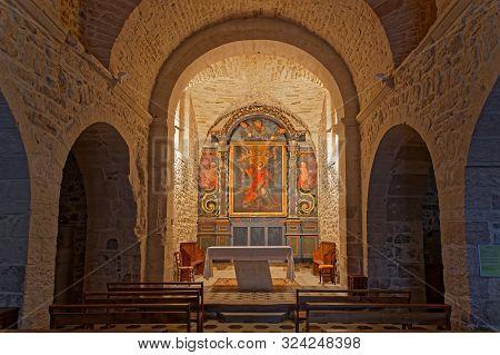 Bessas, France, September 21, 2019 : The Baroque Church Of Bessas, A Village Of South Ardeche, House
