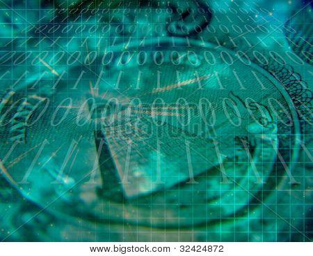 Binärcode und us-Währung abstrakt