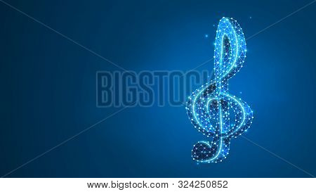 Treble Clef. Music Note, Melody Key, Classic G-clef, Festival Poster Or Banner Concept. Abstract, Di